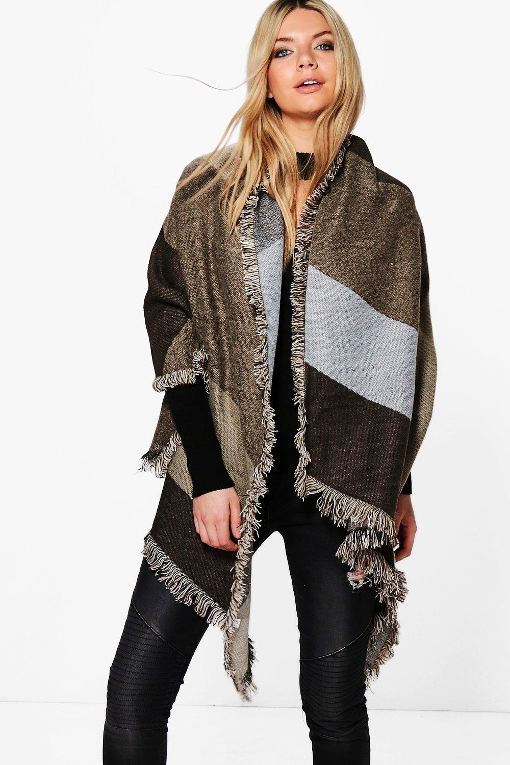 Edie Colour Block Oversized Blanket Scarf