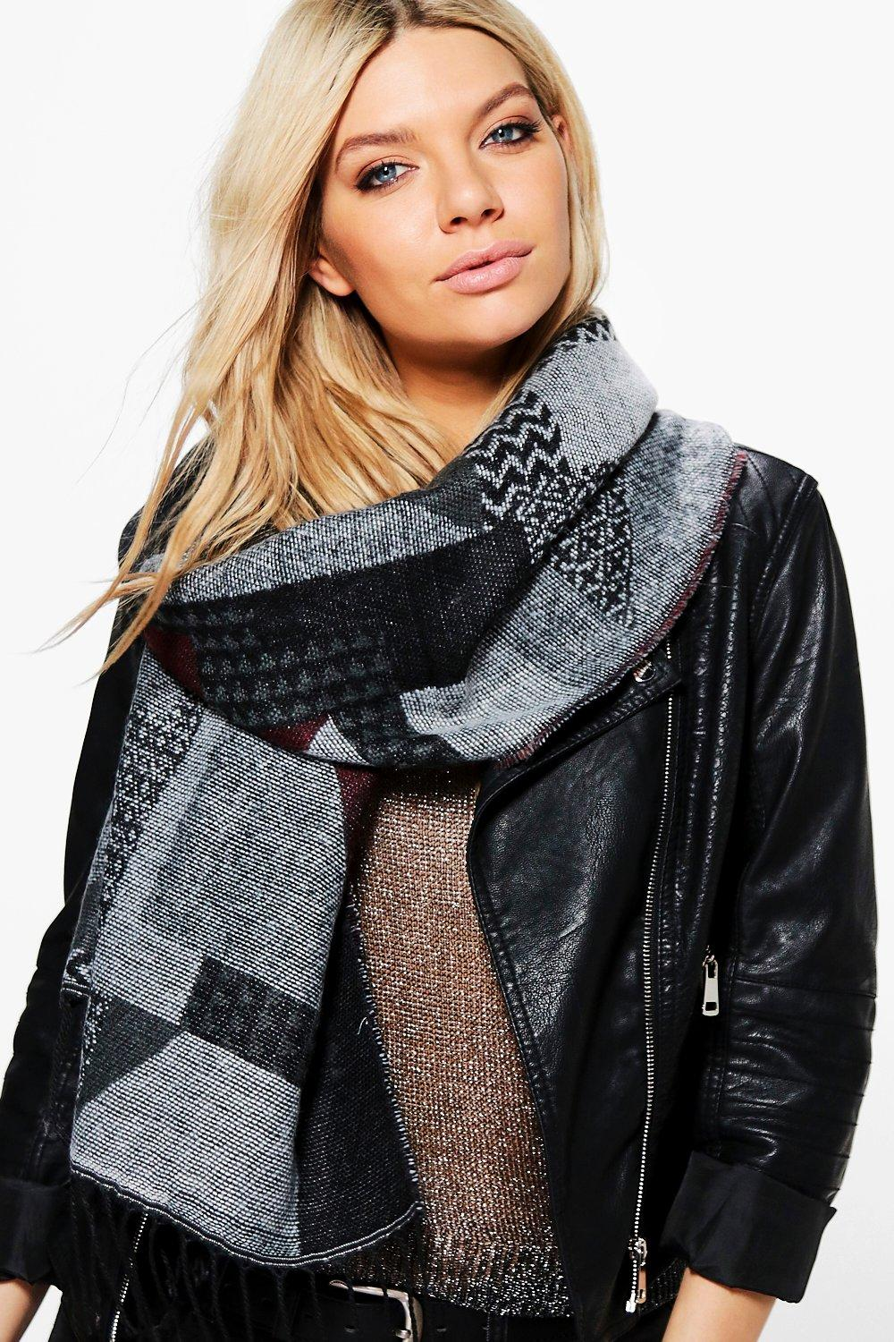 Florence Abstract Oversized Tassel Edge Scarf