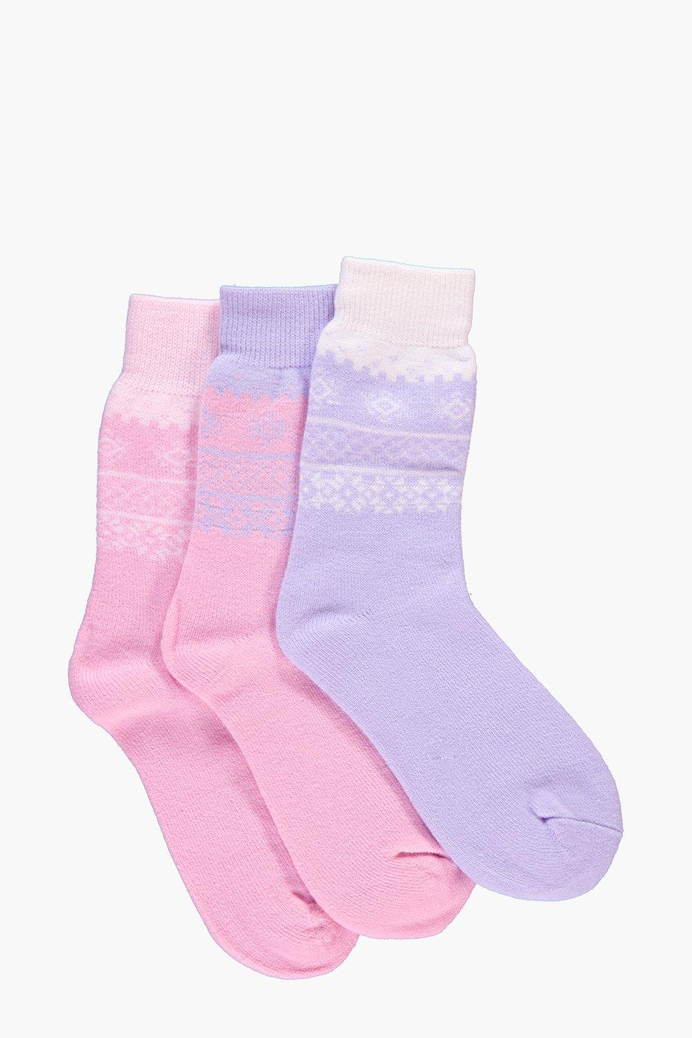 Ivy Fairisle Thermal Slipper Socks 3 Pack