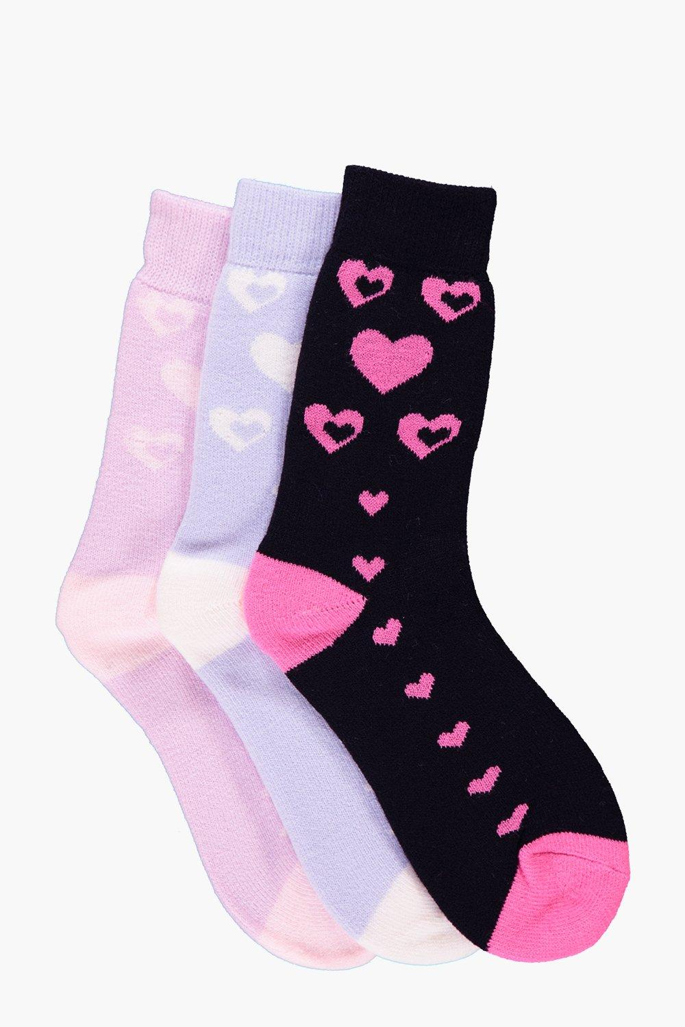 Amber Heart Thermal Slipper Socks 3 Pack