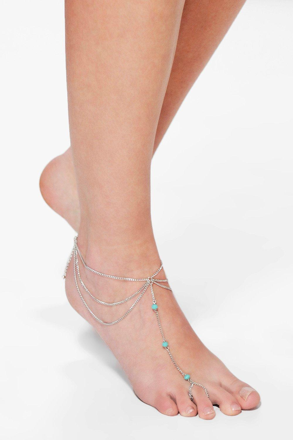 Kate Turquoise Stone Chain Foot Anklet