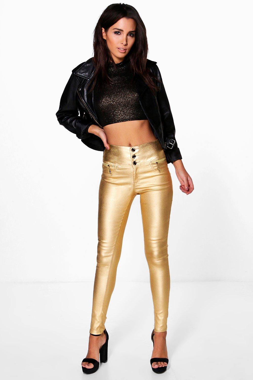 Suri Metallic Coated 3 Button Skinny Trousers