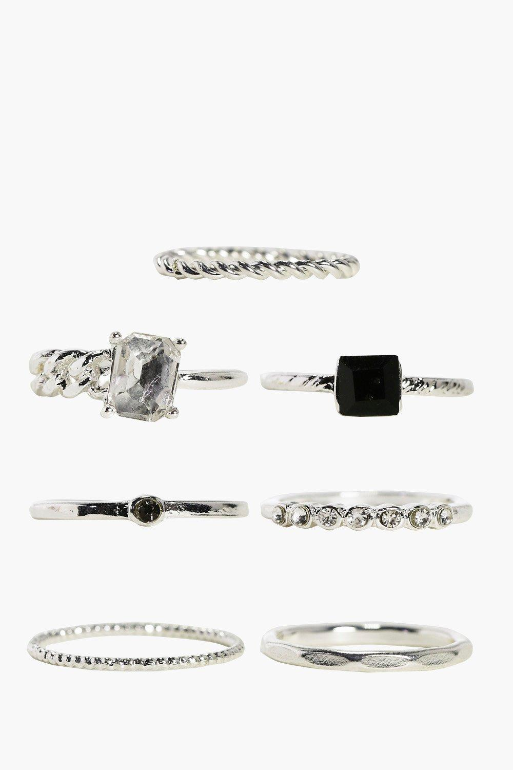 Isla 7 Piece Mixed Stone Skinny Ring Pack