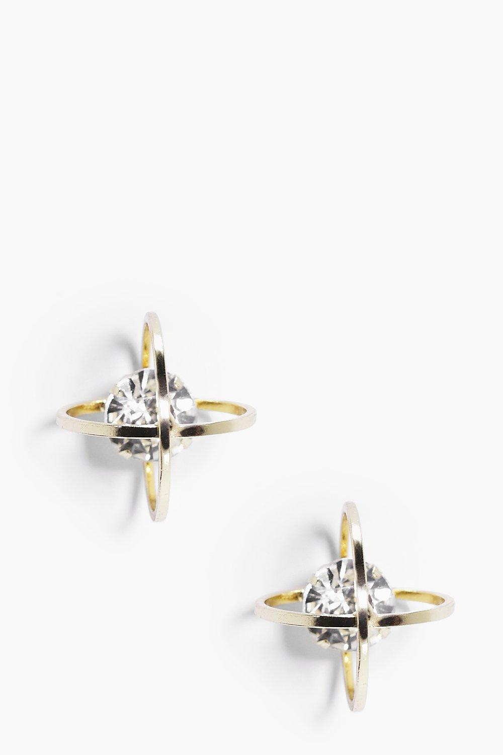 Maya Diamante Stud Metal Cage Earrings