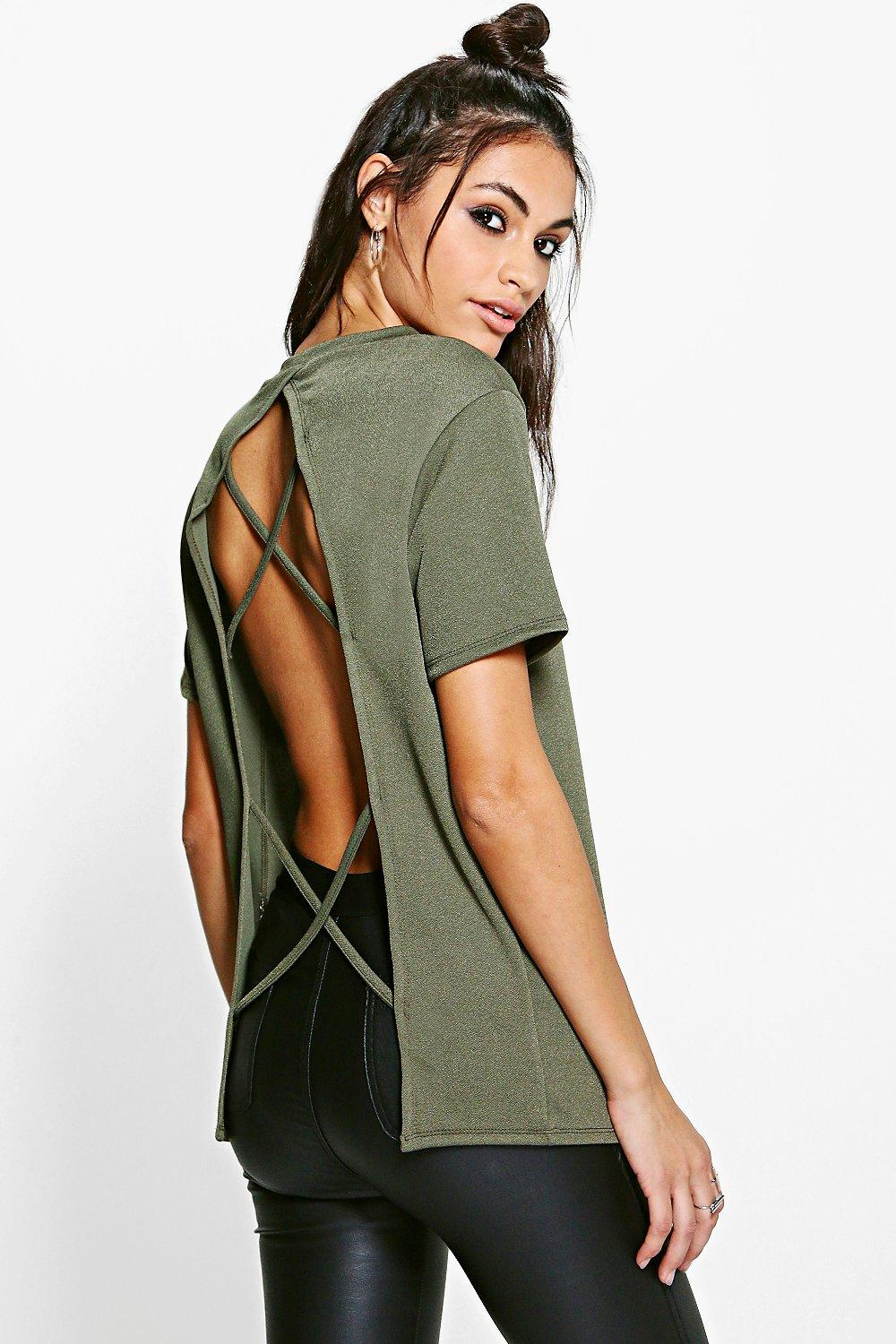 Lauren Crepe Top With Open Strappy Back Top