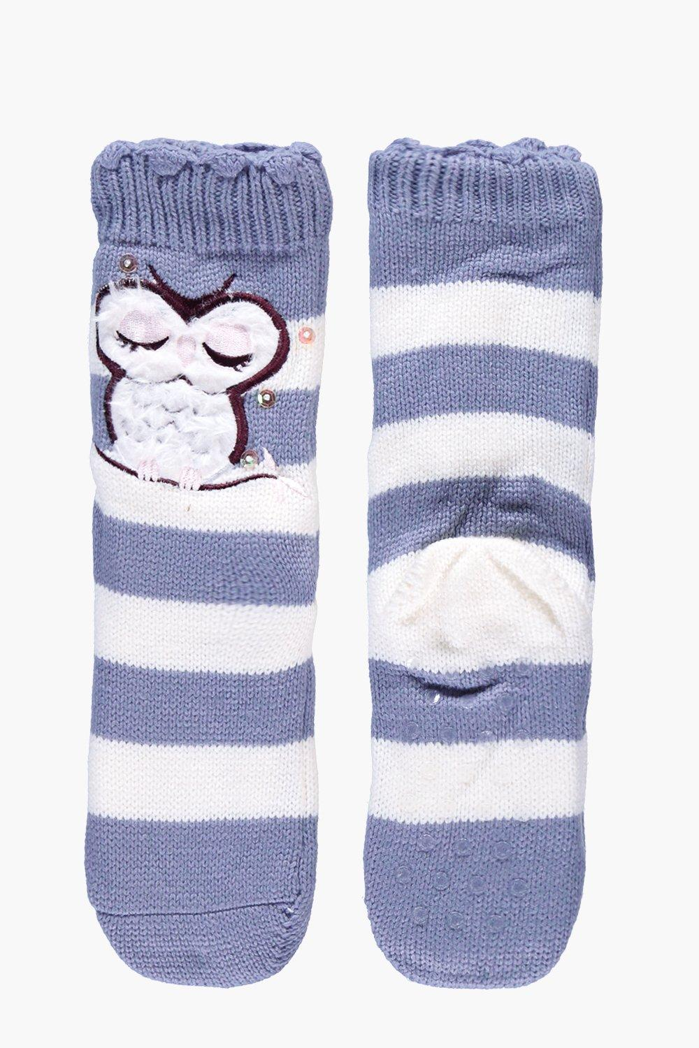 Julia Owl Cosy Fleece Lined Slipper Socks