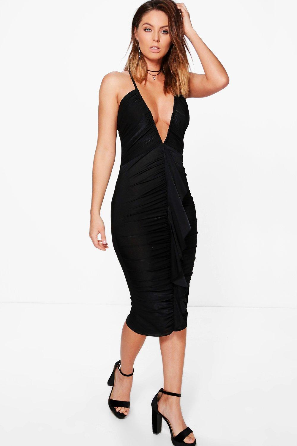 Immie Plunge Ruched Frill Slinky Midi Dress at boohoo.com
