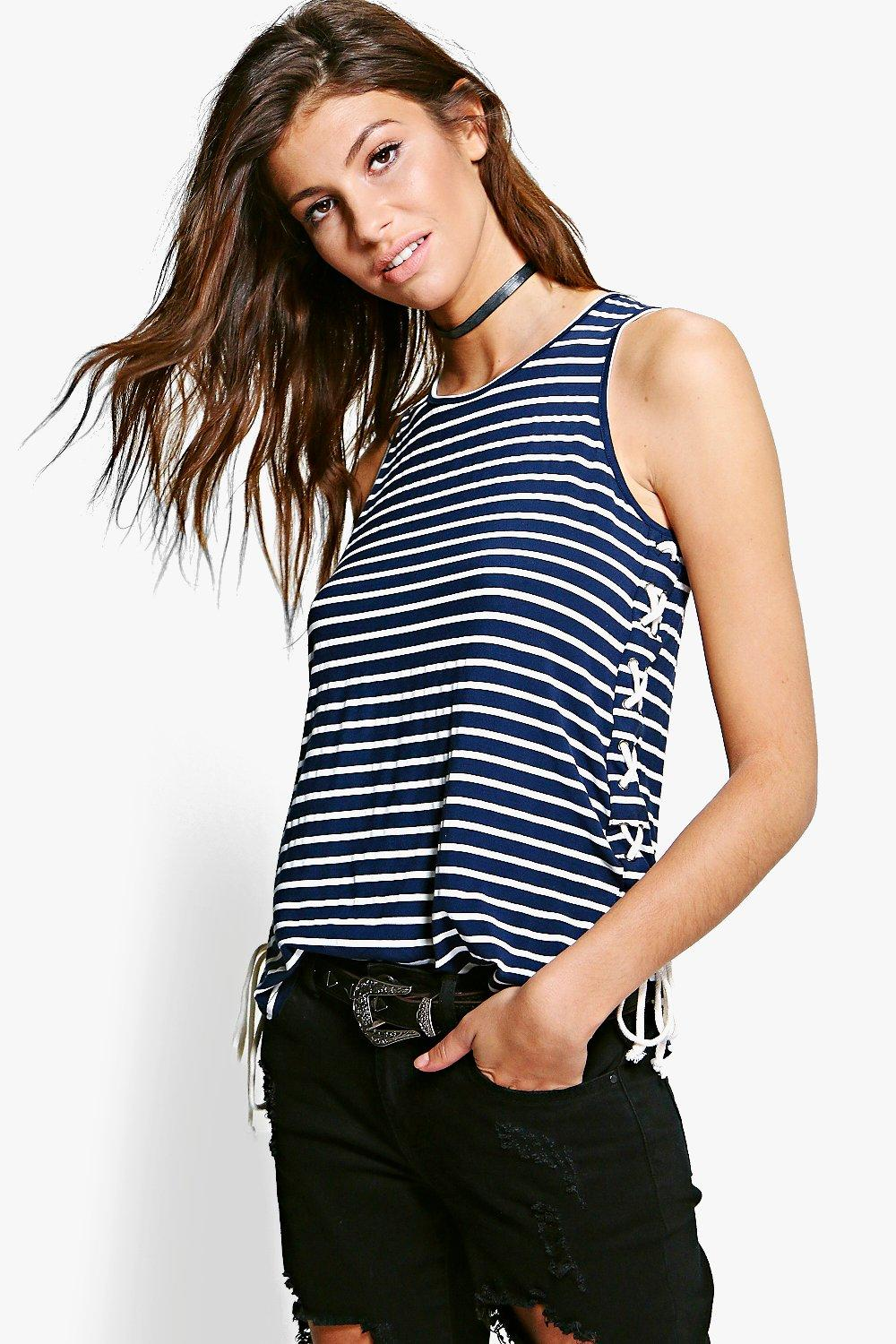 Simone Tie Side Stripe Vest