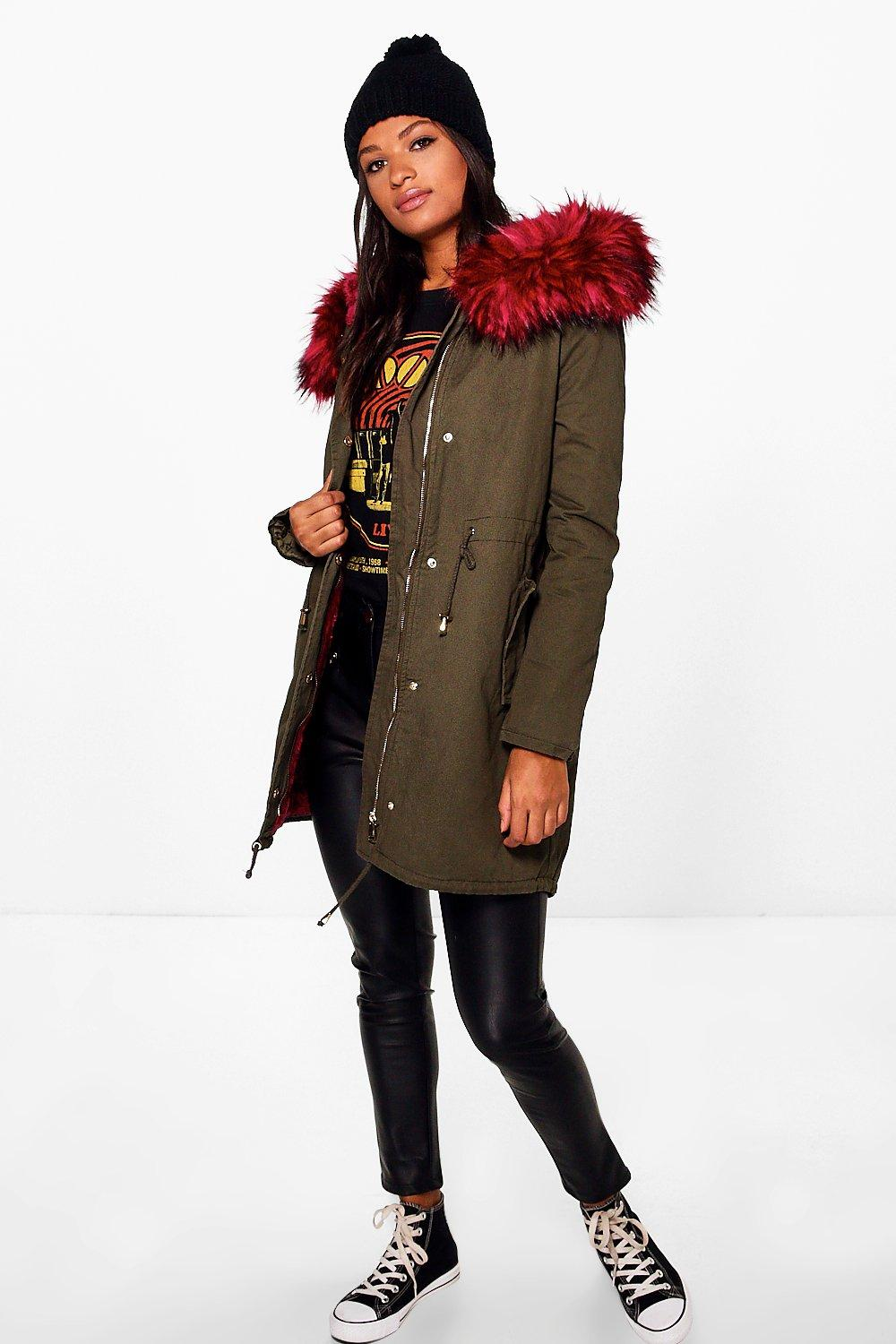 Katie Boutique Faux Fur Long Parka