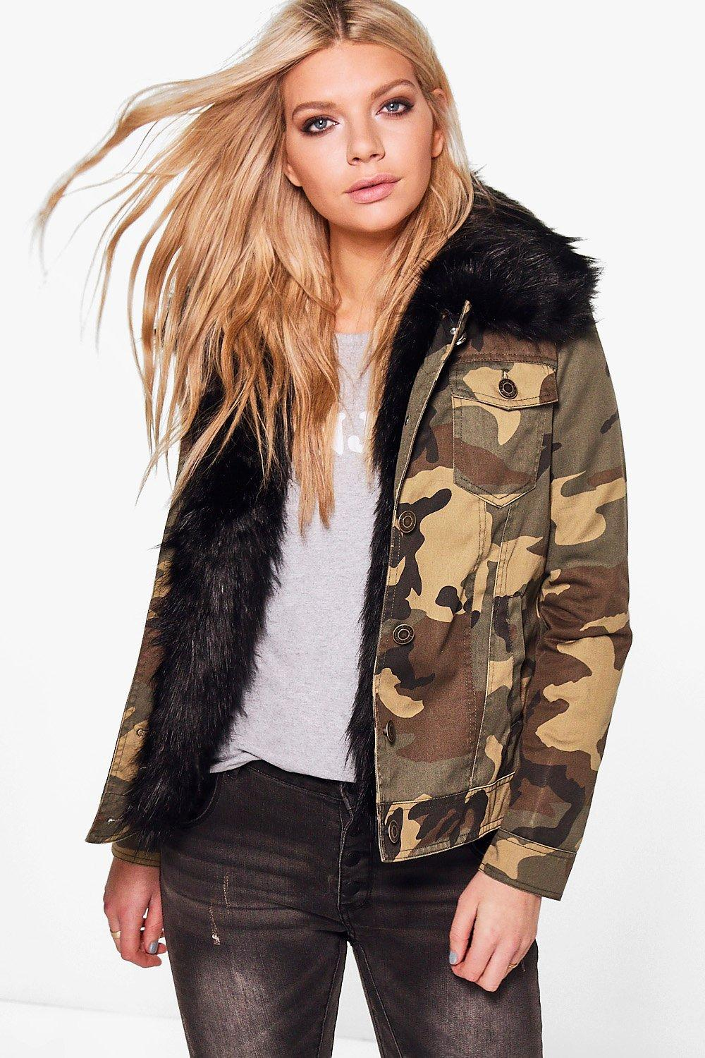 Imogen Faux Fur Trim Camo Jacket