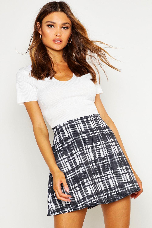 Priya Monochrome Check A Line Mini Skirt at boohoo.com