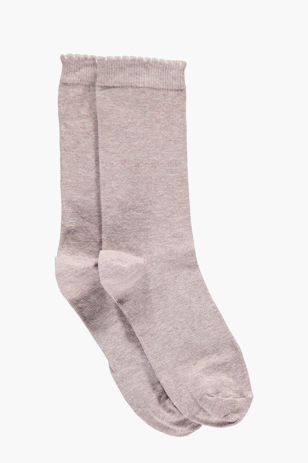 Amber Melange Scallop Edge Ankle Socks