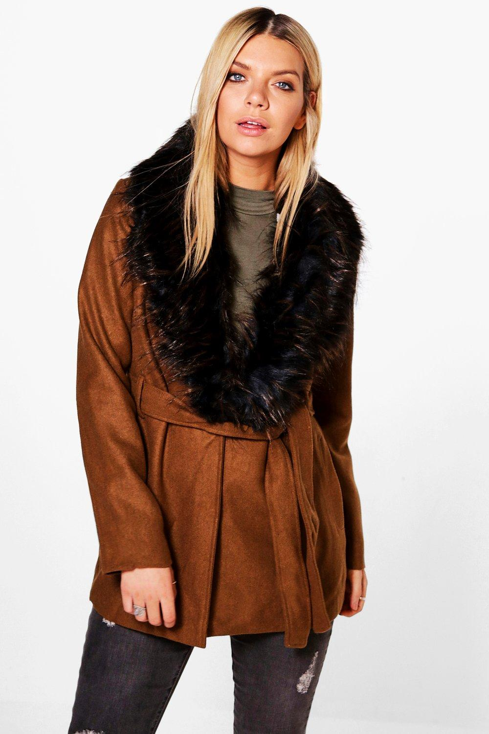 Jessica Detachable Faux Fur Collar Jacket