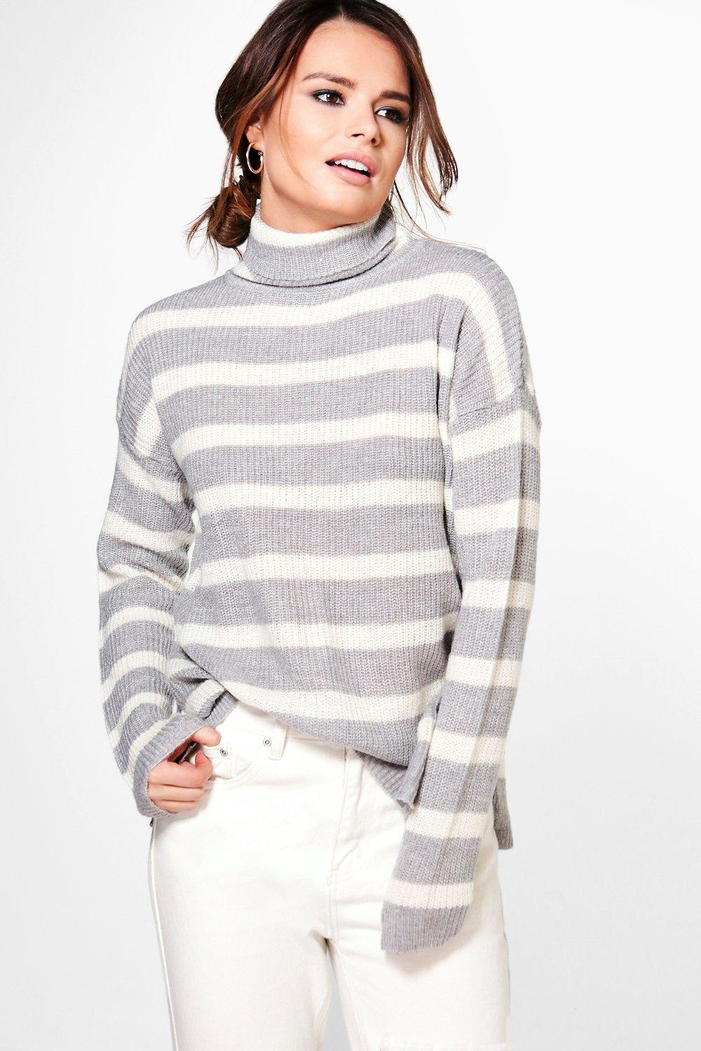 Ruby Striped Fisherman Rib Roll Jumper