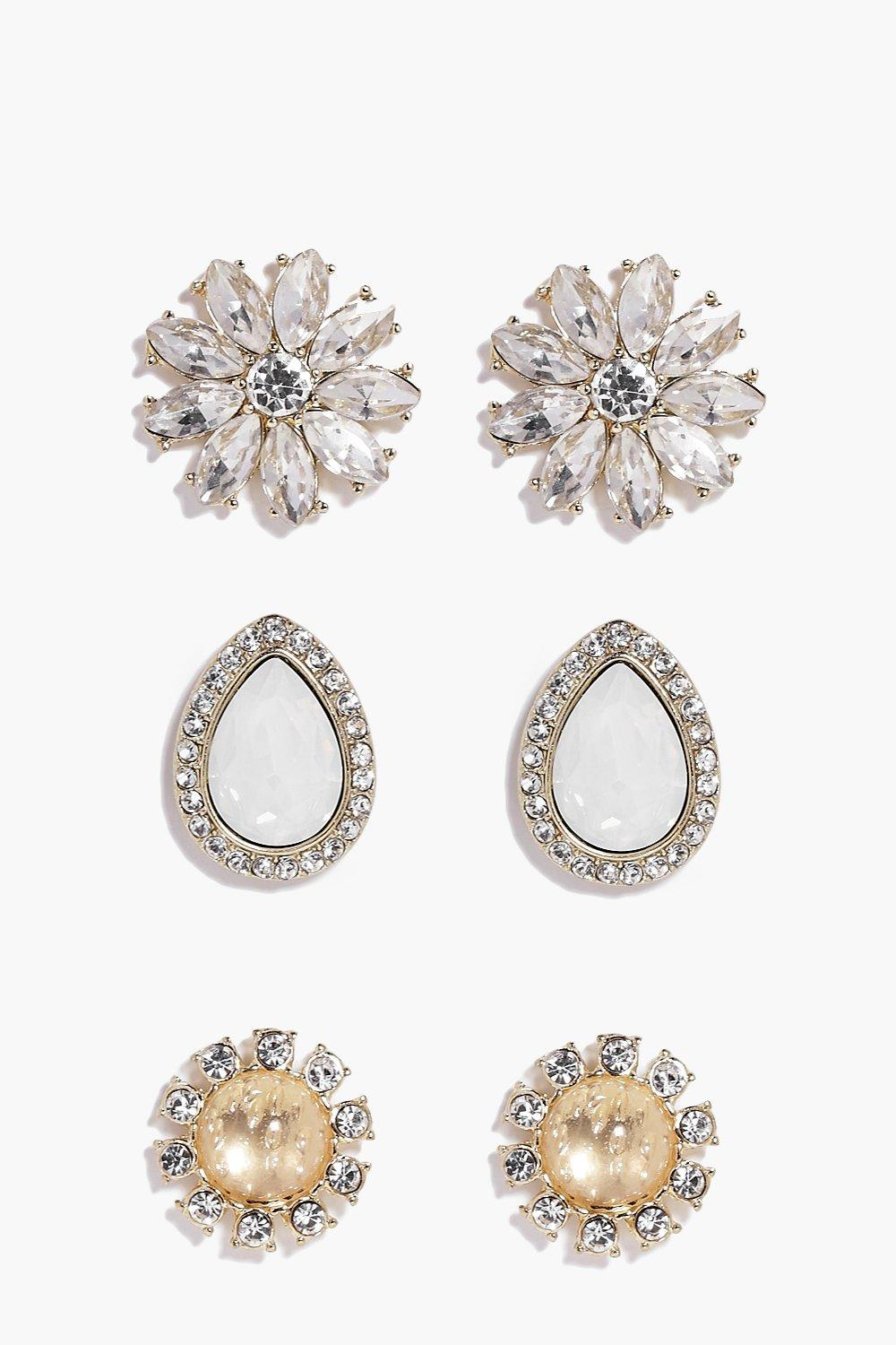Layla Flower Stone Earring Set