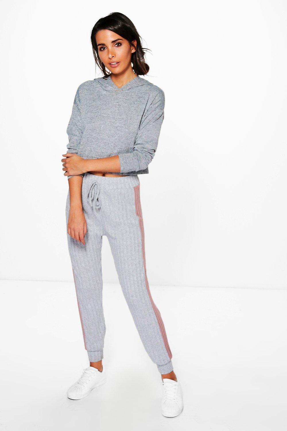Aura Contrast Panel Soft Knit Joggers