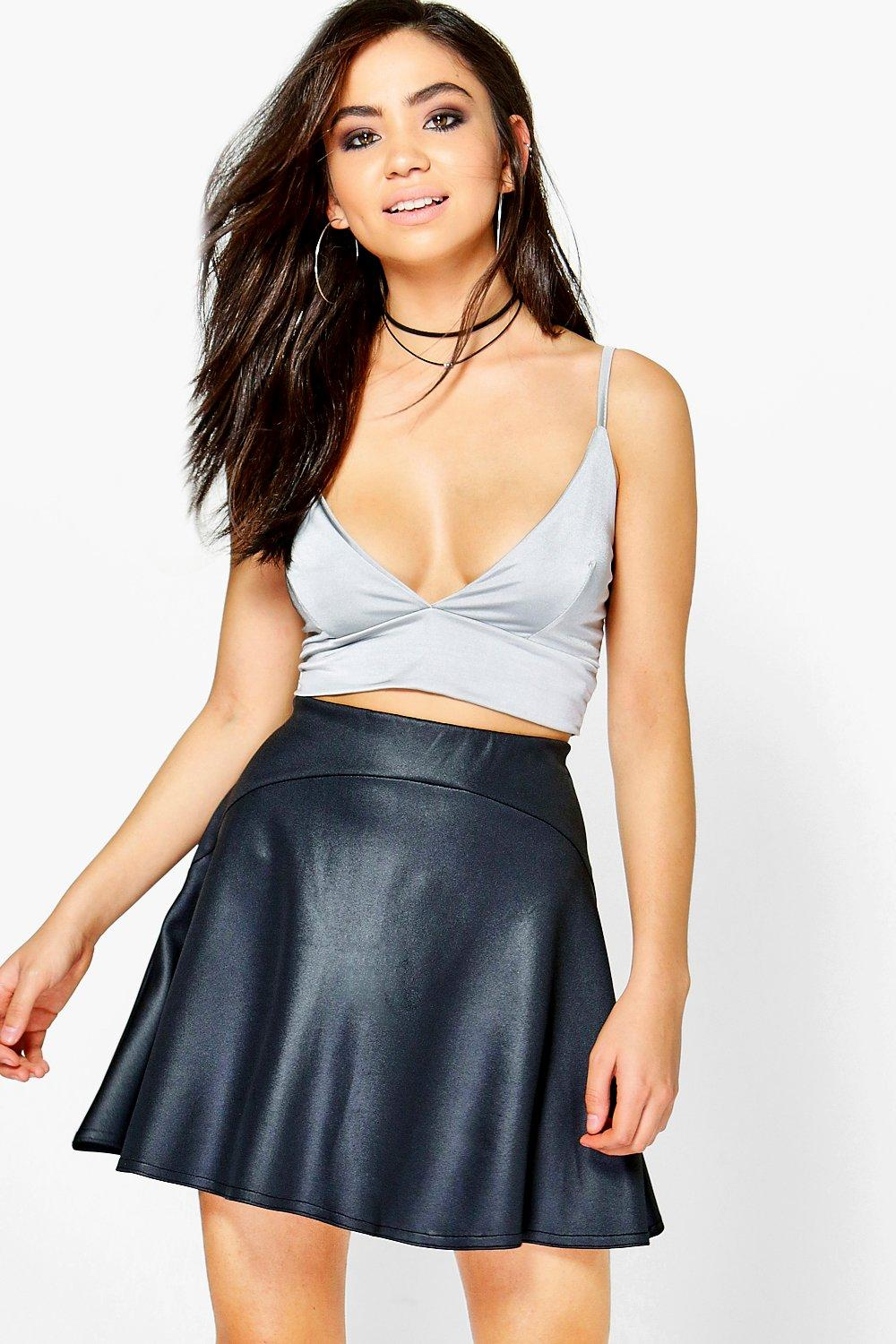 Avah Flippy Hem Wet Look Mini Skirt