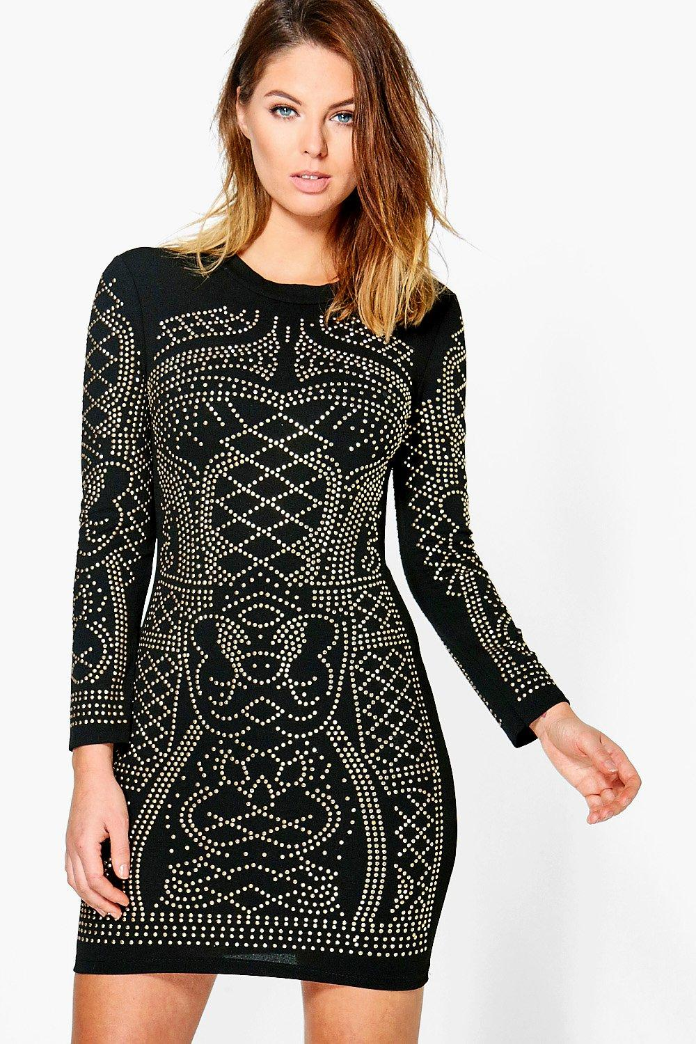 Amita Studded Long Sleeve Bodycon Dress