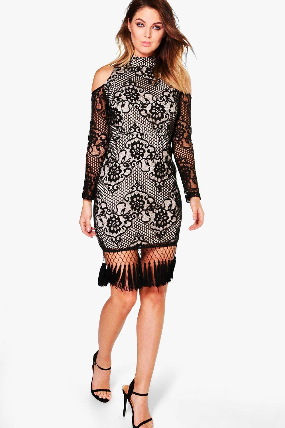 Boutique Gigi Lace Tassle Hem Bodycon Dress