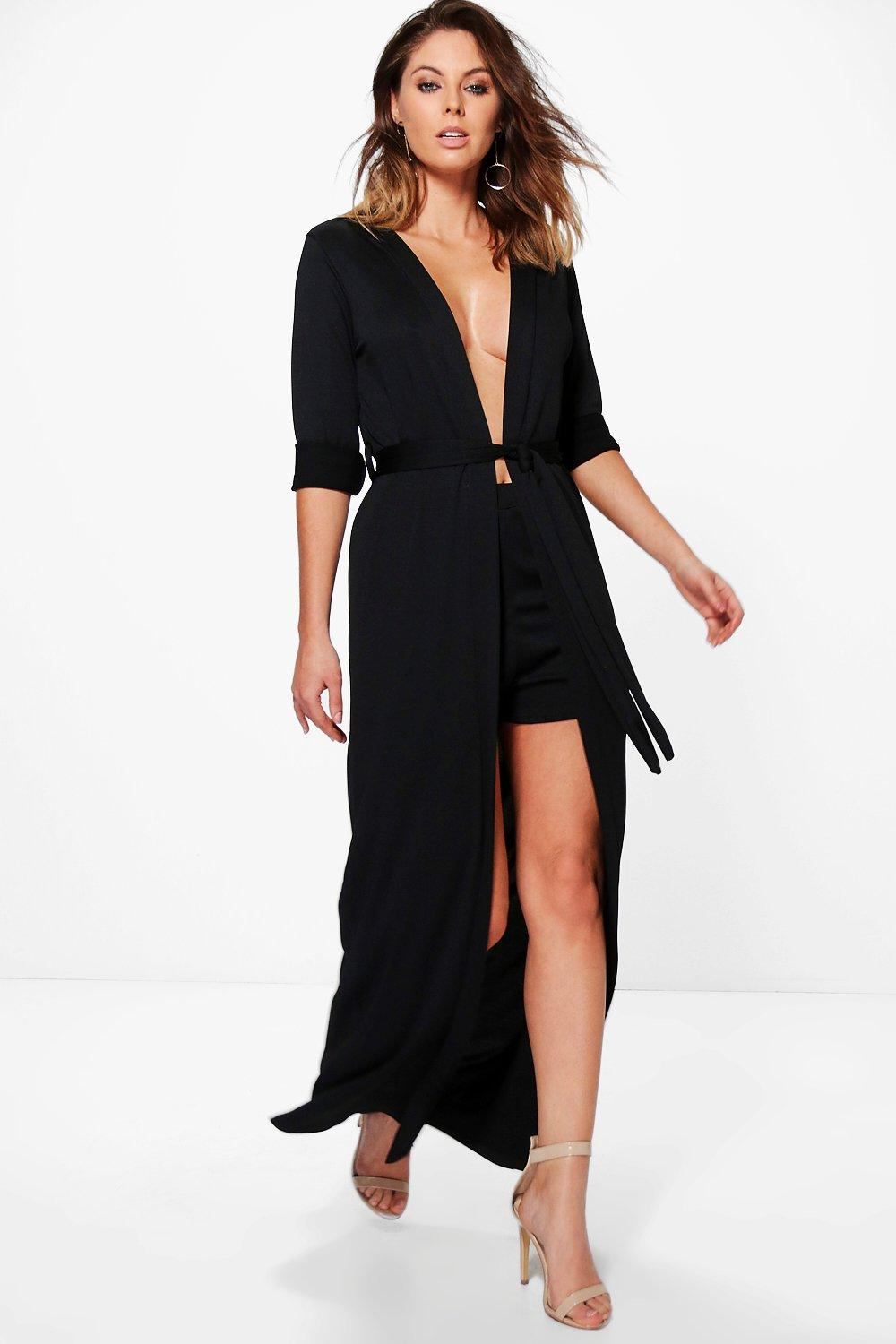 Audrina Tie Waist Texture Duster & Short Co-Ord