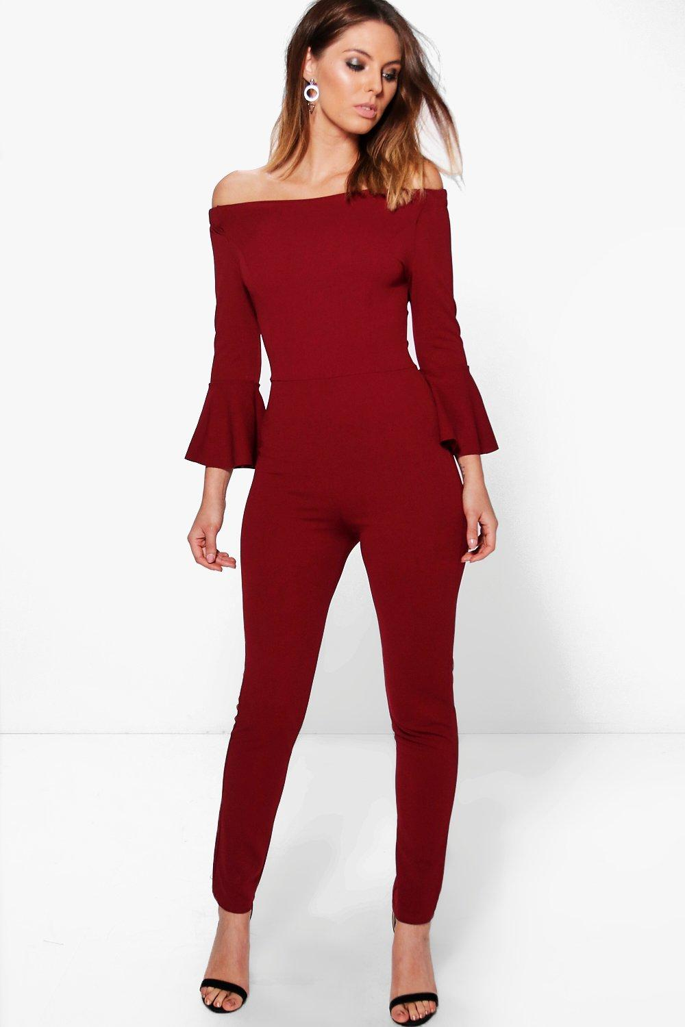 Rose Flare Sleeve Off The Shoulder Jumpsuit