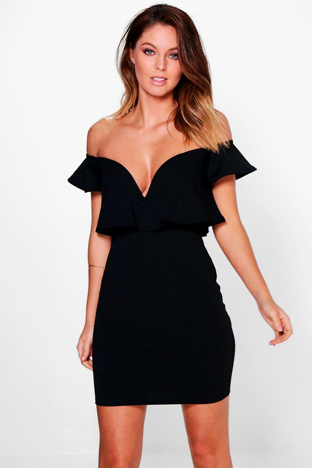 Sara Off Shoulder Frill Plunge Bodycon Dress