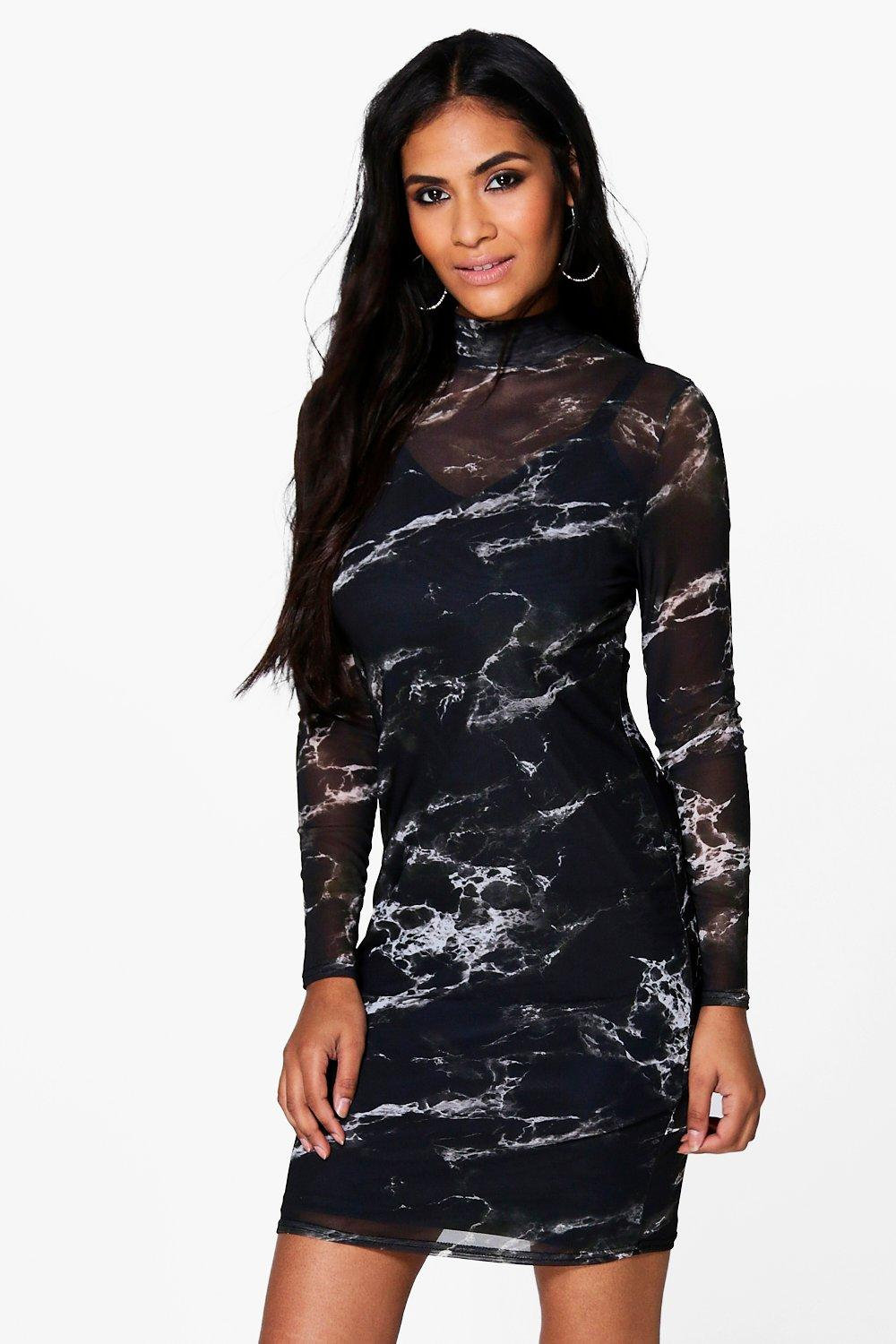 Tess High Neck Marble Mesh Bodycon Dress