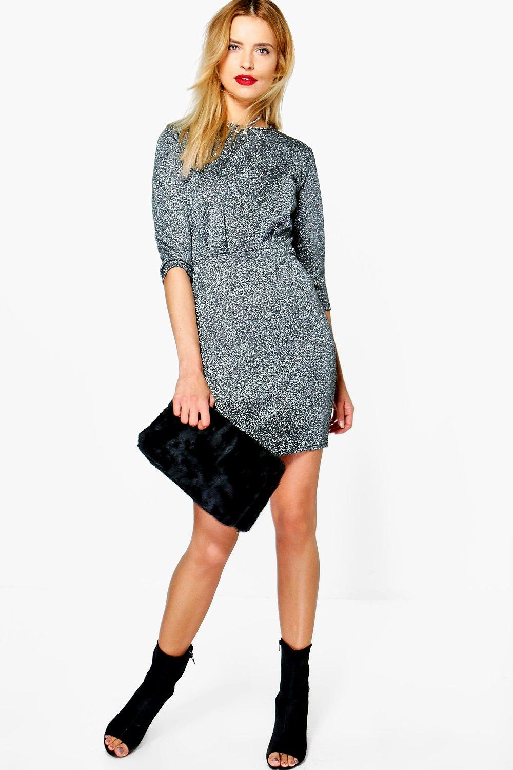 Lani Metallic 3/4 Sleeve Bodycon Dress