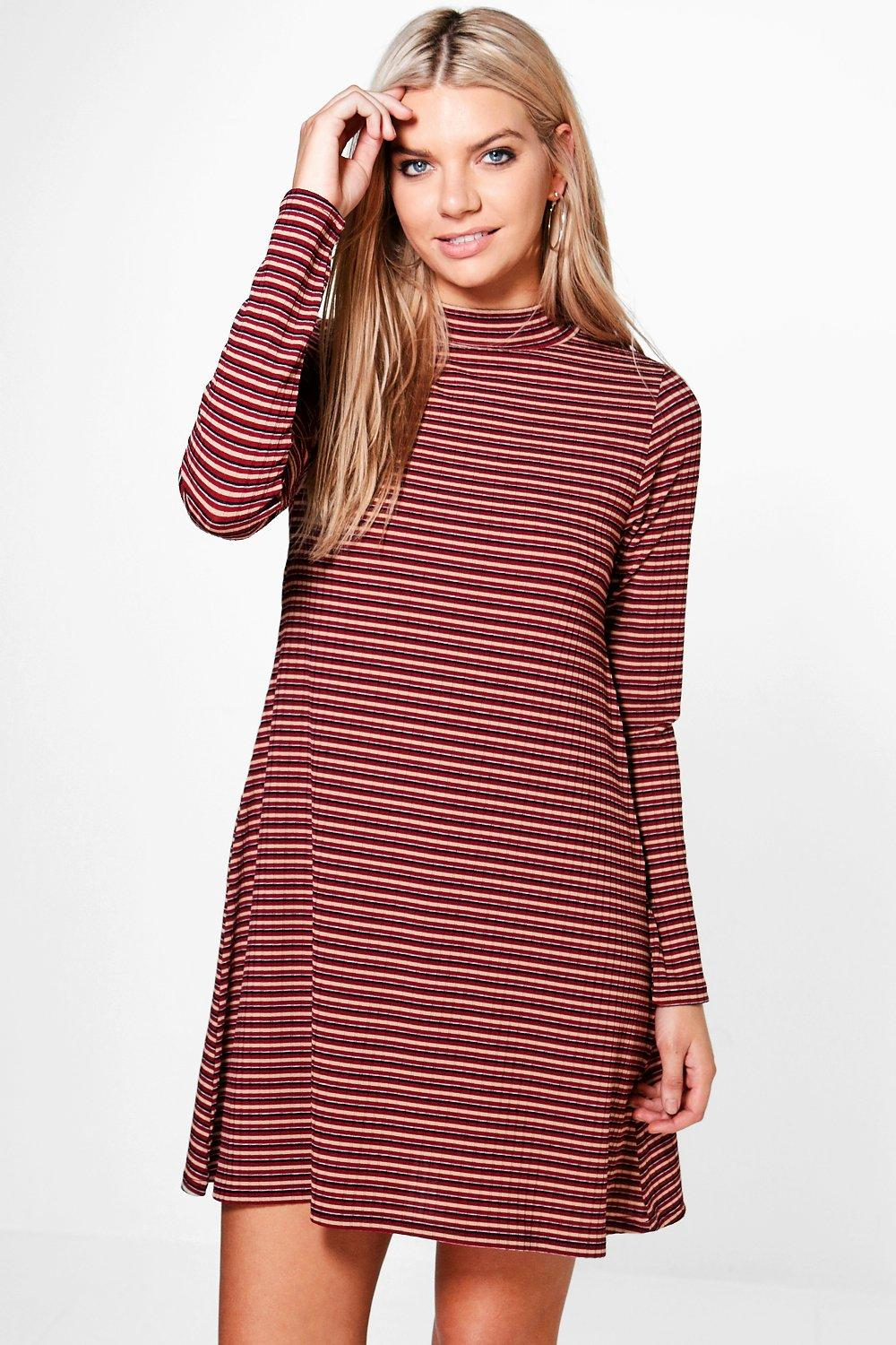 Jenny High Neck Stripe Rib Swing Dress
