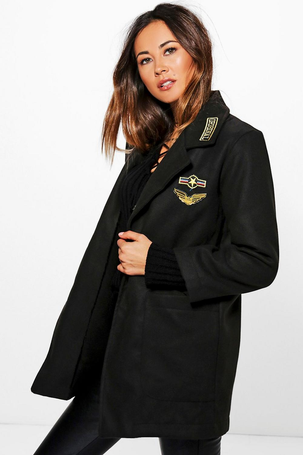 Beatrice Badge Wool Look Military Coat