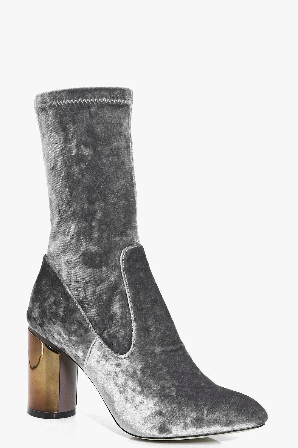 Aimee Metallic Heel Crushed Velvet Sock Boot