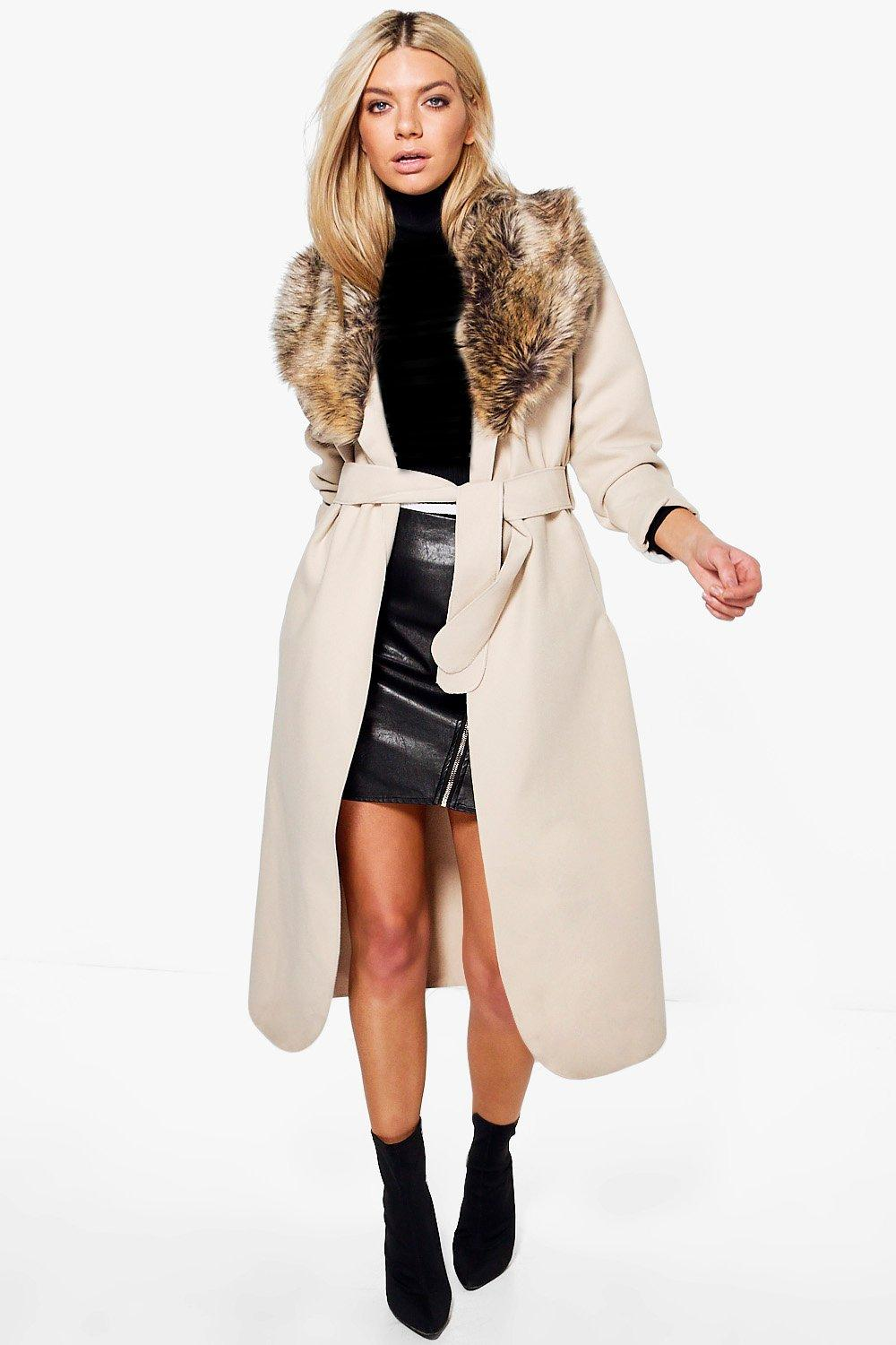 Sophie Shawl Faux Fur Collar Maxi Coat