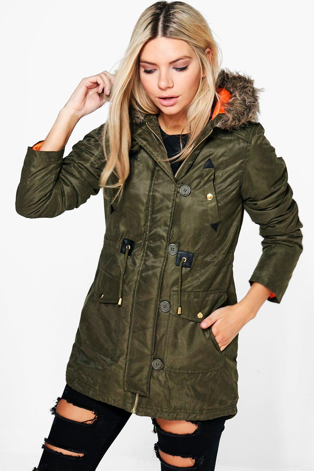 Zoe Waxed Faux Fur Trim Parka
