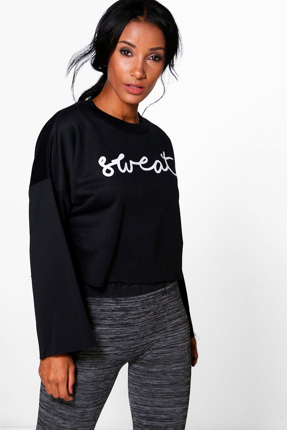 Maya Fit Running Crop Slogan Sweat