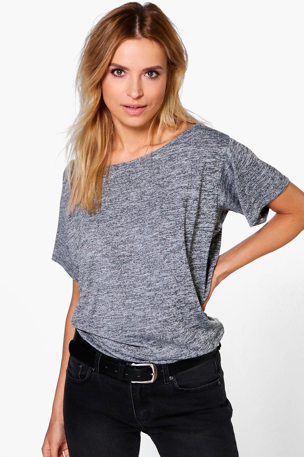 Lexi Slash Neck Marl T-Shirt