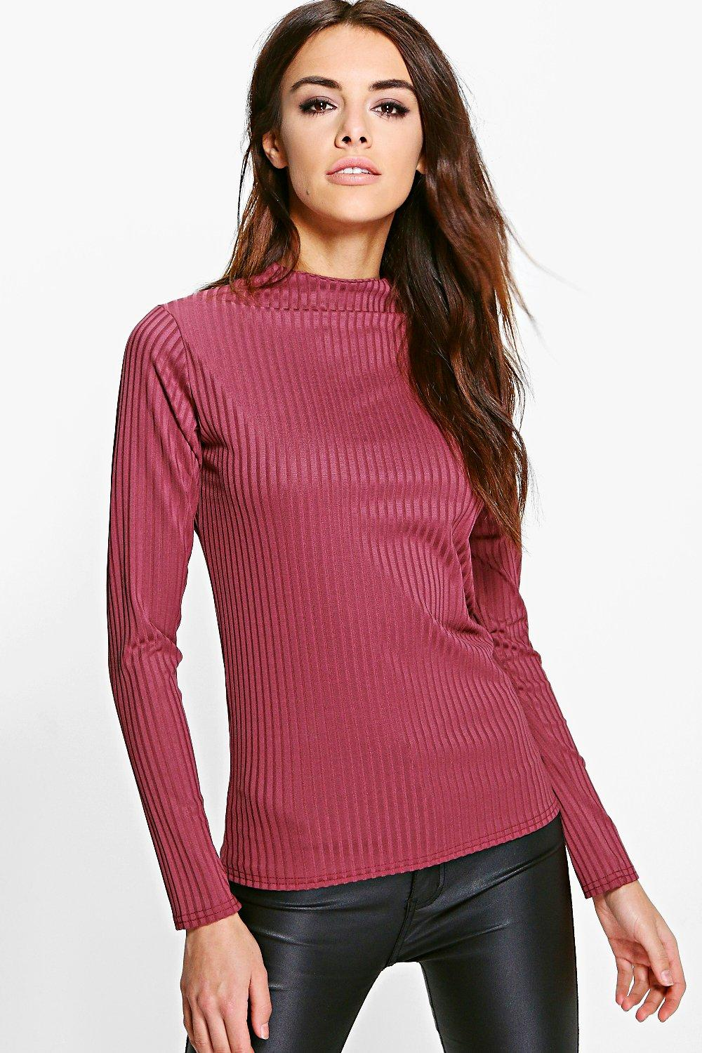 Eleanor Rib High Neck Long Sleeve Top