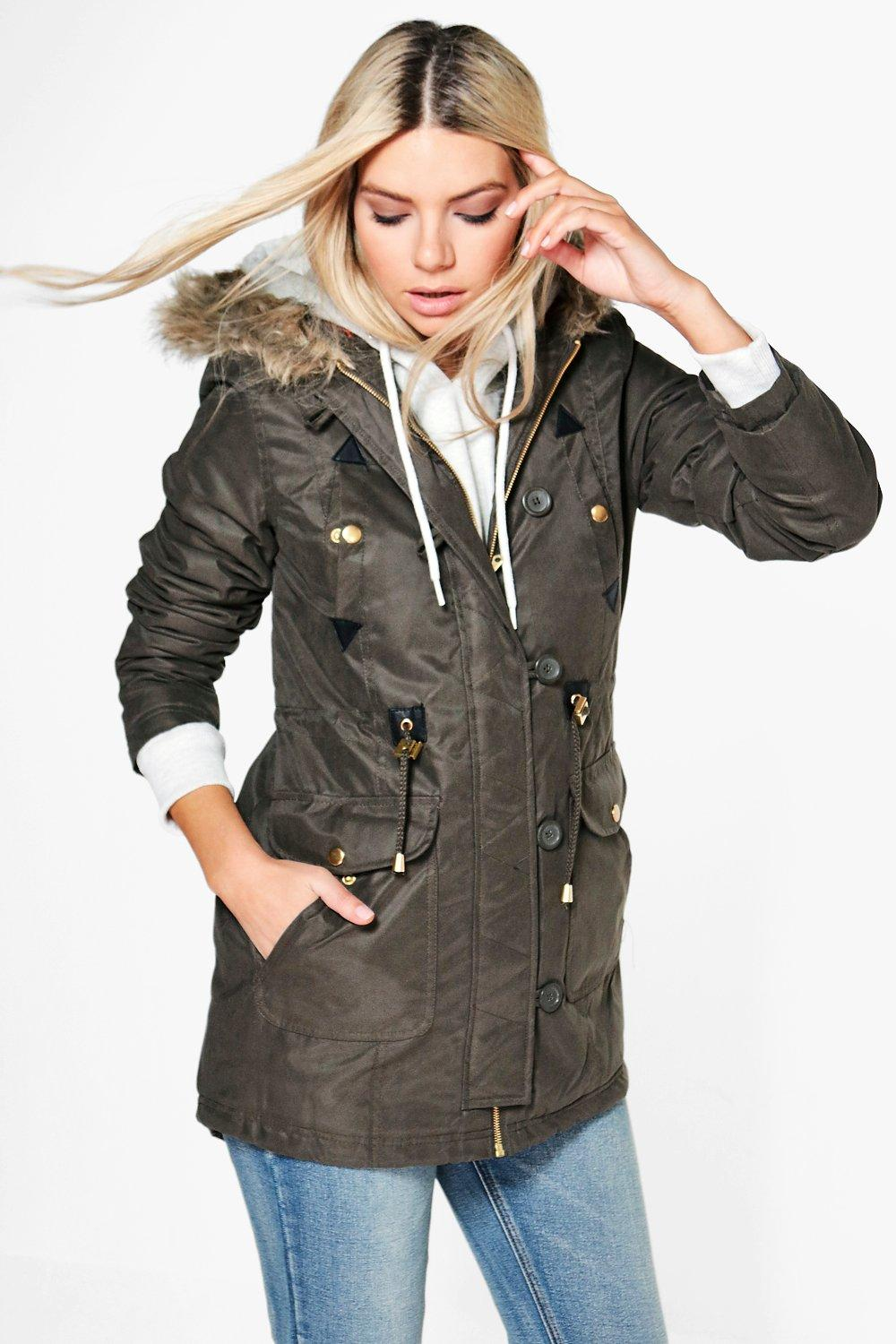 Sarah Hooded Parka With PU Detail