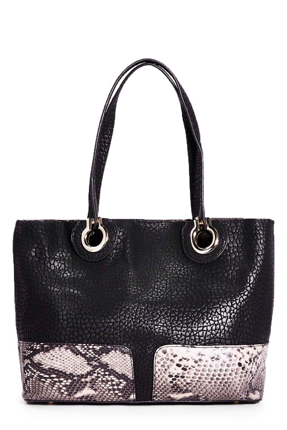 Clara Snake Print & PU Metal Shopper Bag