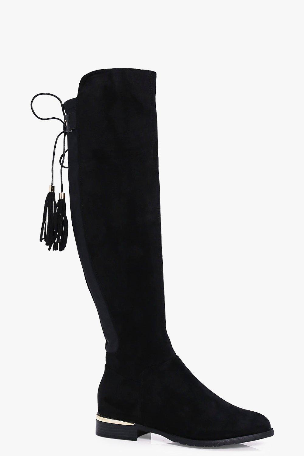 Julia Gold Trim Tie Back Knee High Boot