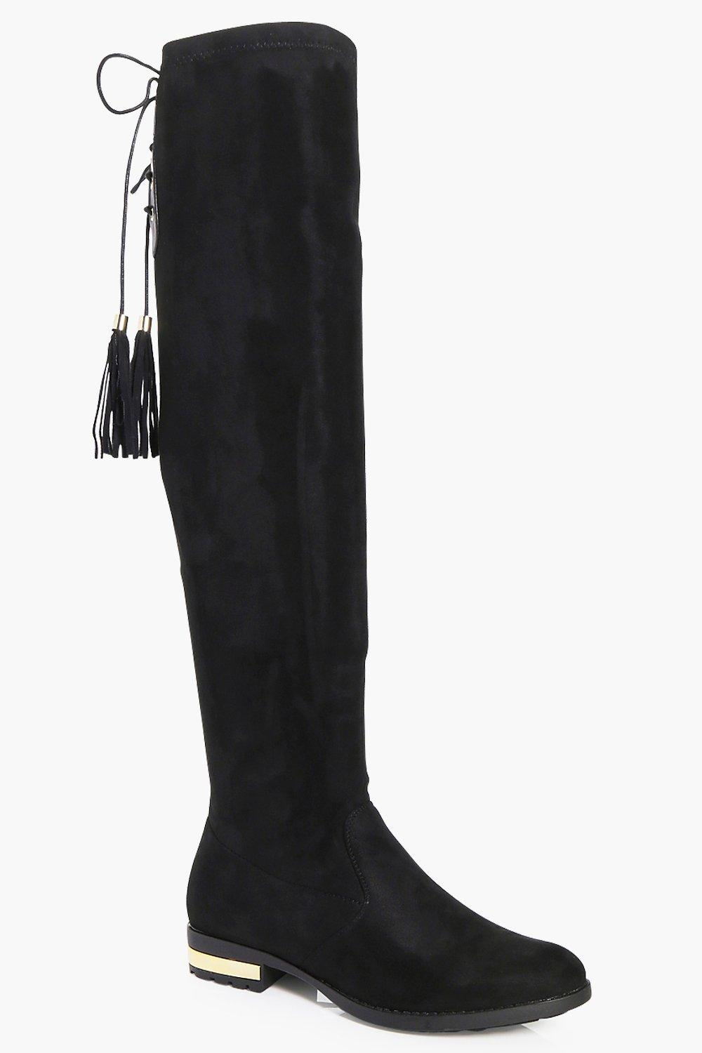 Maria Flat Gold Trim Over The Knee Boot