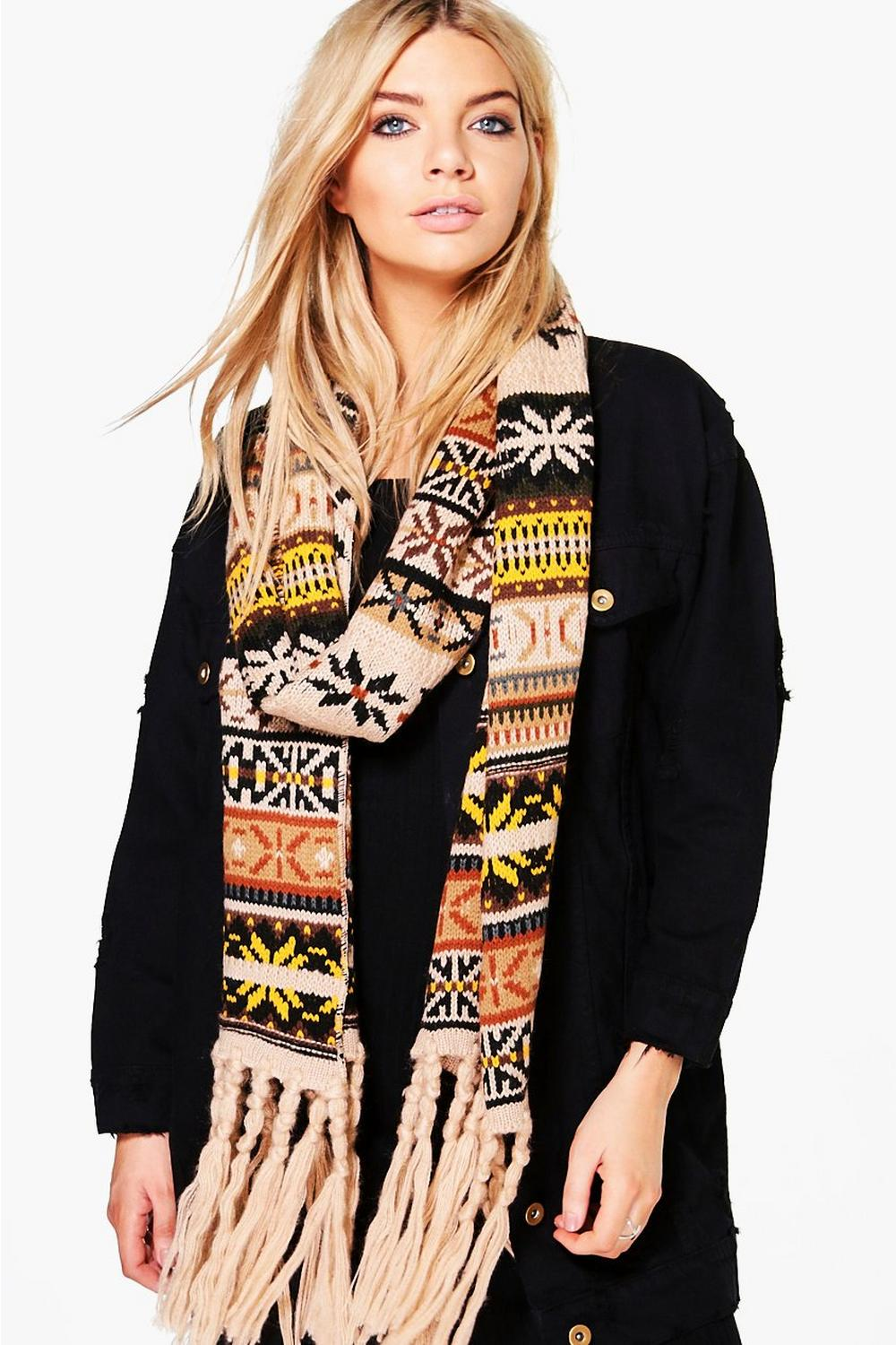 Florence Fairisle Fringed Knitted Scarf