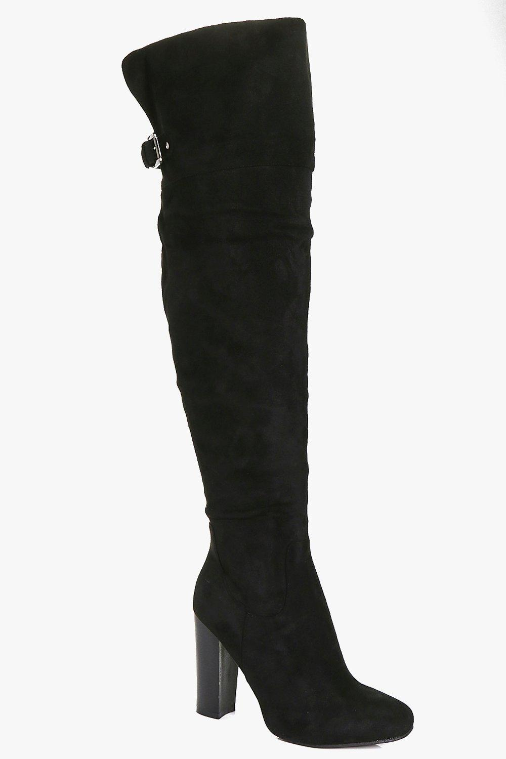 Amy Block Heel Back Vent Over The Knee Boot