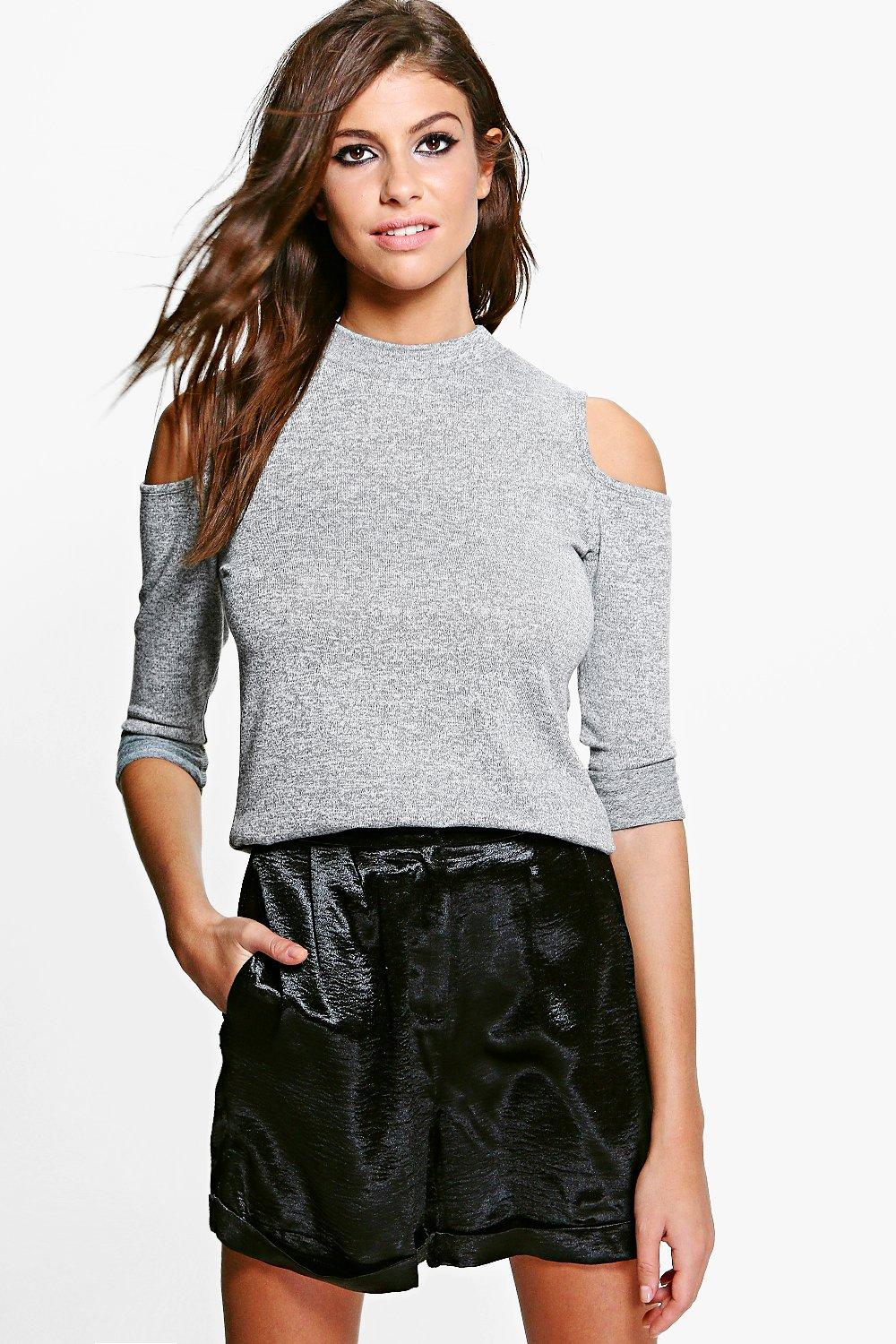 Kia Turtle Neck Cut Out Shoulder Top