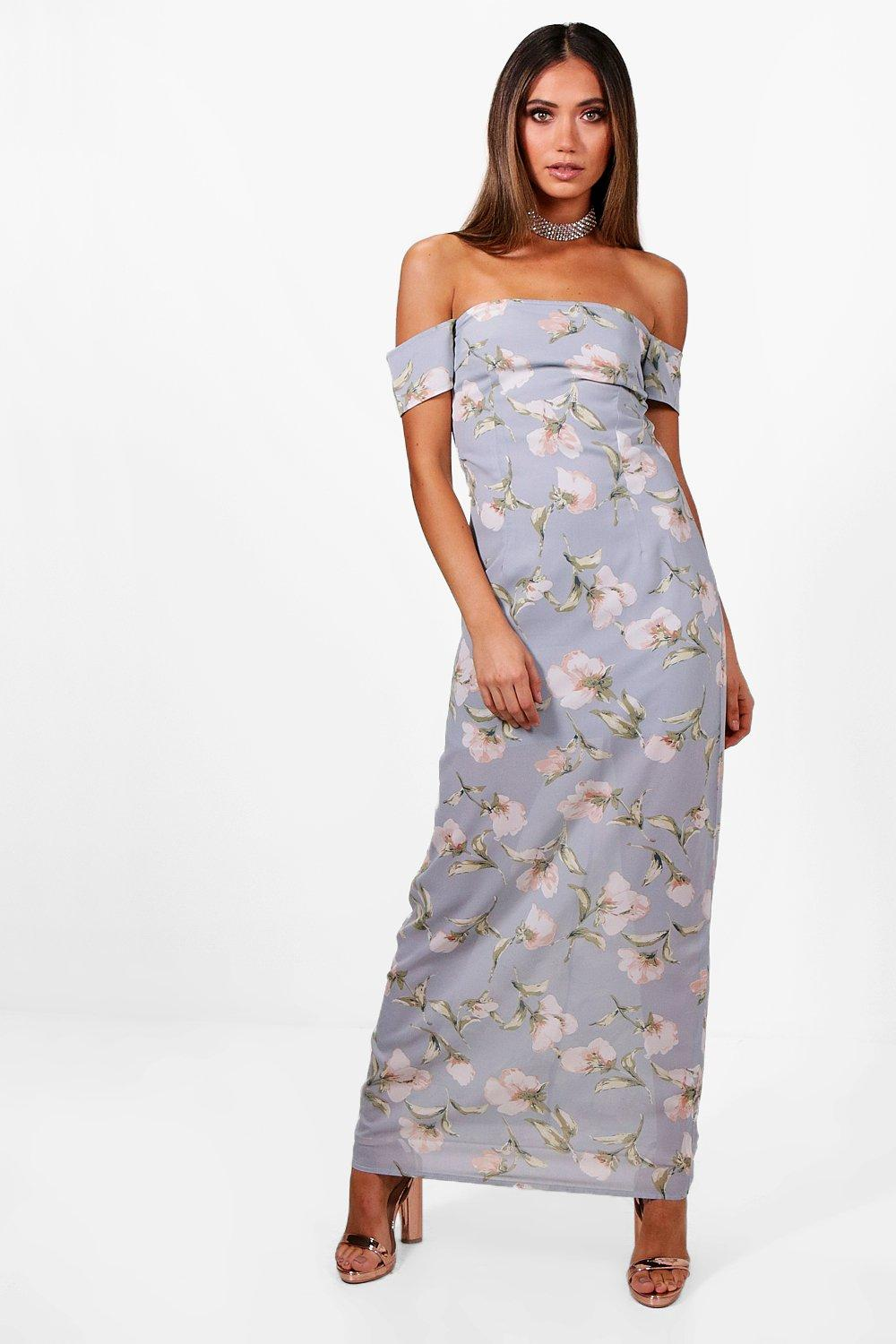 Felicity floral chiffon off shoulder maxi dress at for Boohoo dresses for weddings