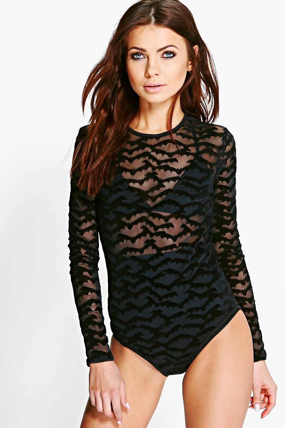 Beth Long Sleeve Halloween Bat Print Mesh Bodysuit