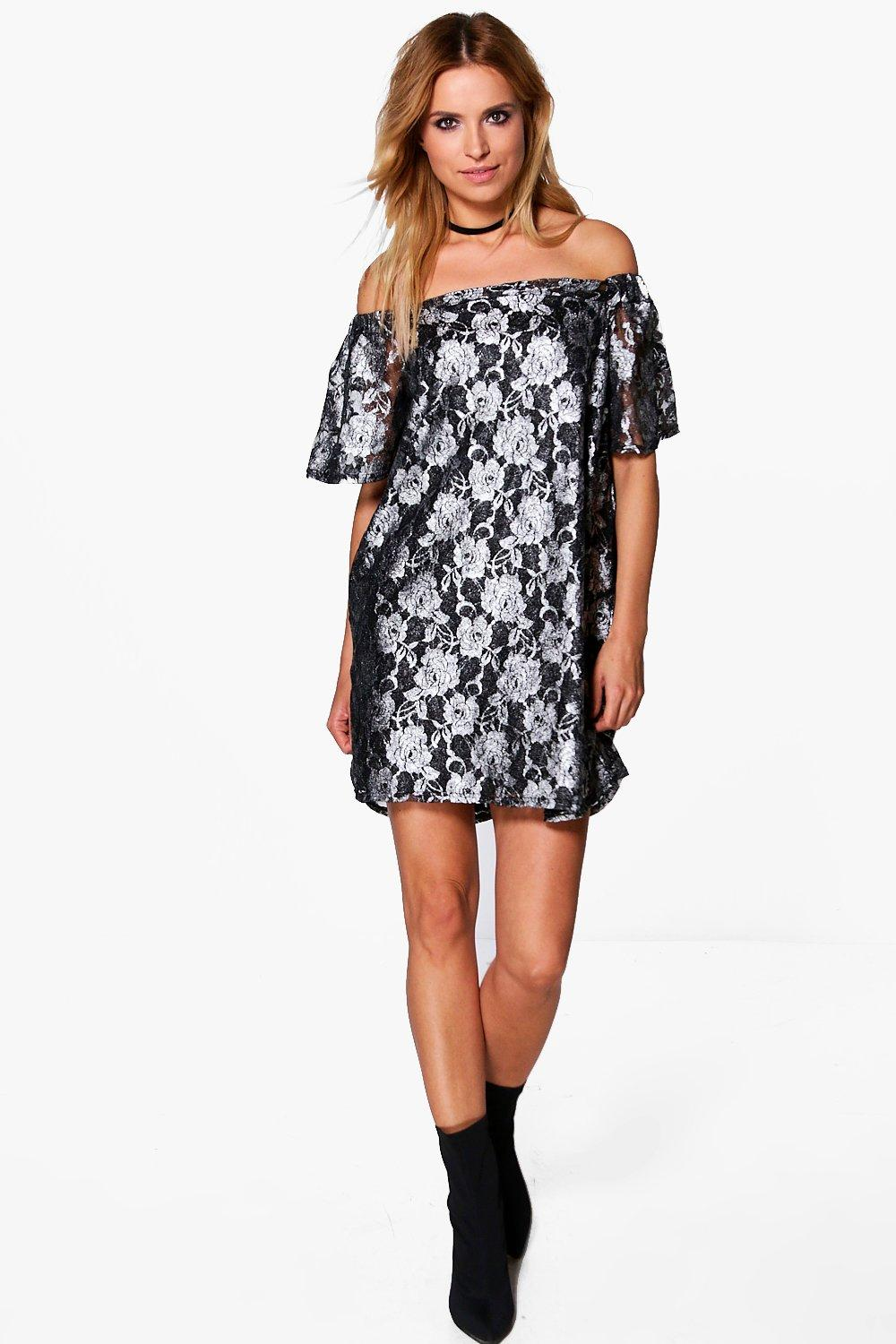 Hana Metallic Floral Off Shoulder Shift Dress
