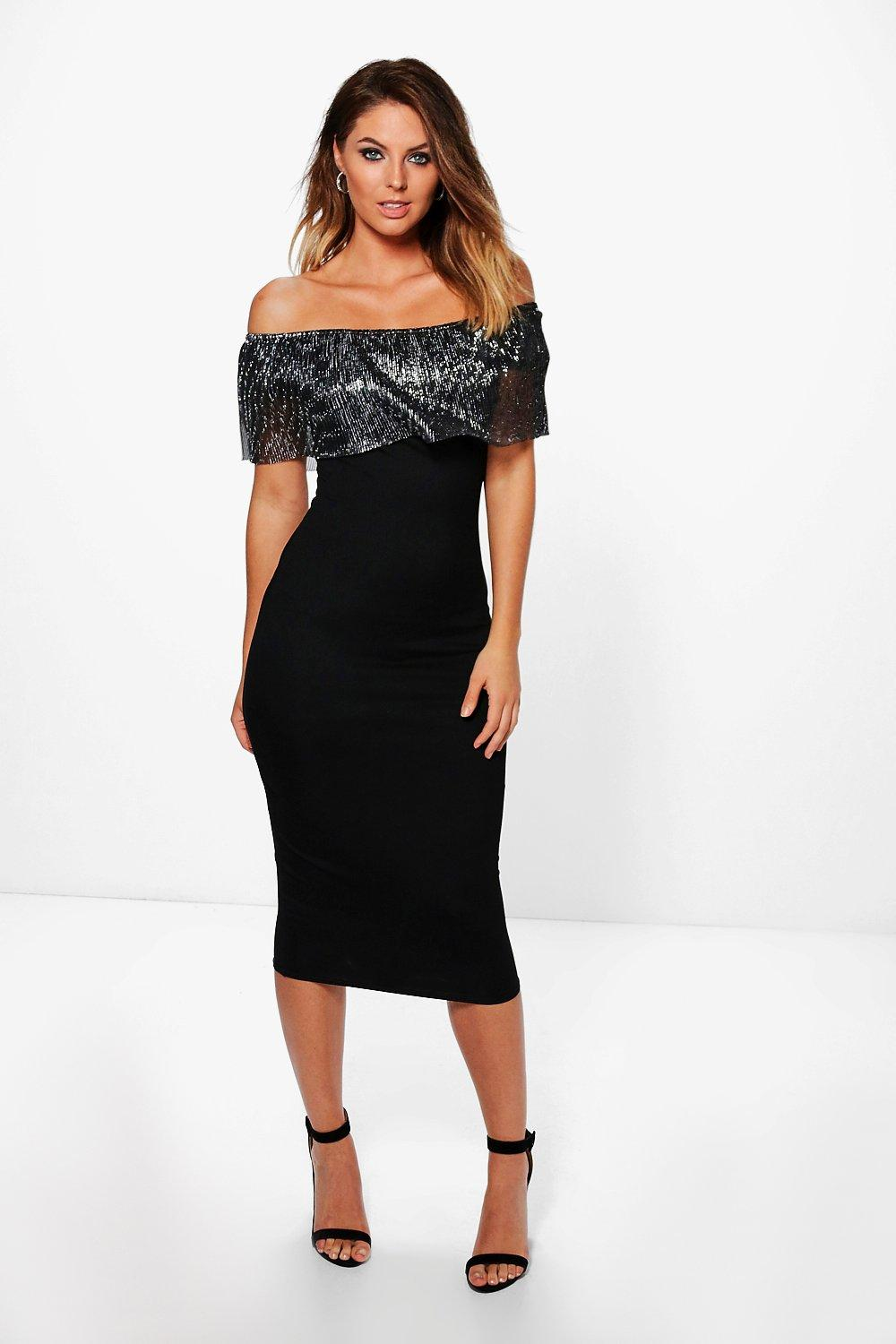 Tessa Metallic Pleat Off Shoulder Midi Dress