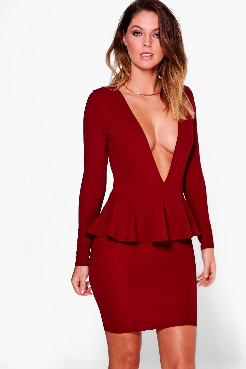 Suki Long Sleeved Peplum Bodycon Dress