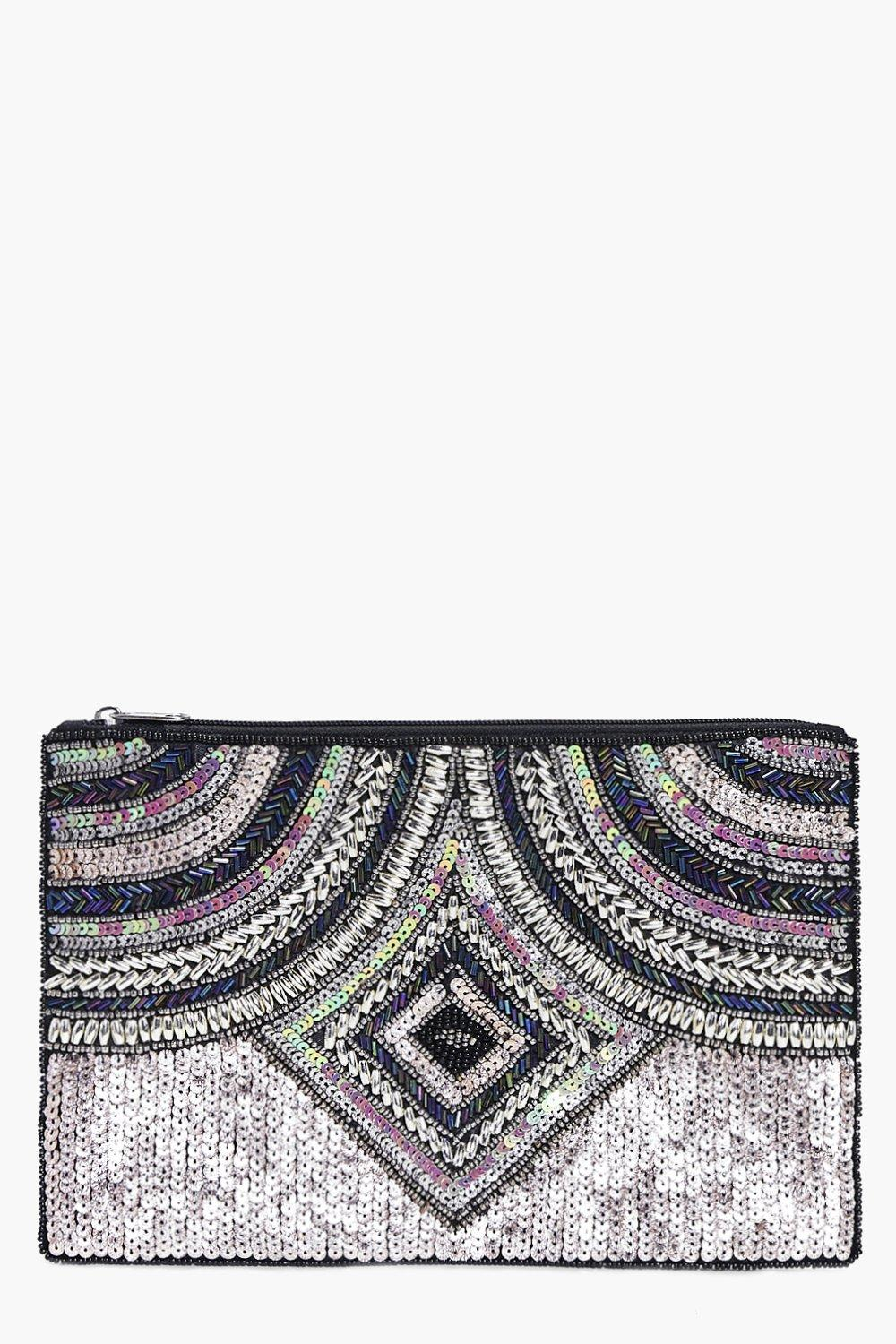 Maria Multi Bead & Sequin Clutch Bag
