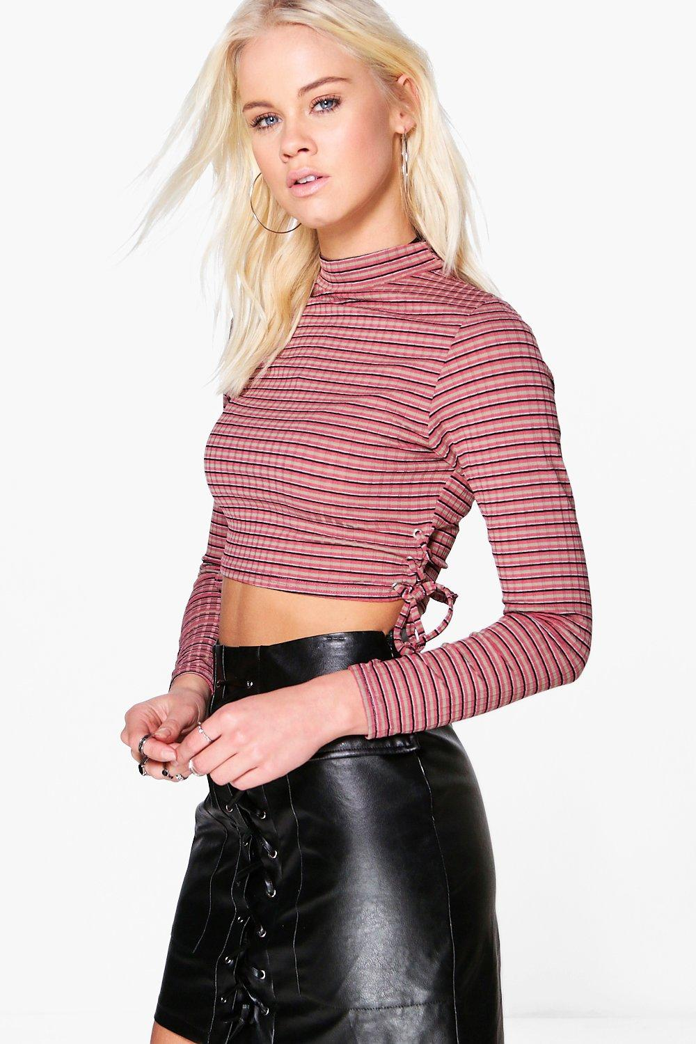 Sarah Stripe Neck Lace Up Top
